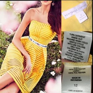 Strapless Fit & Flare yellow dress (nwot)